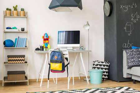 industrious: Fully furnished scandinavian style room for a diligent and industrious student Stock Photo