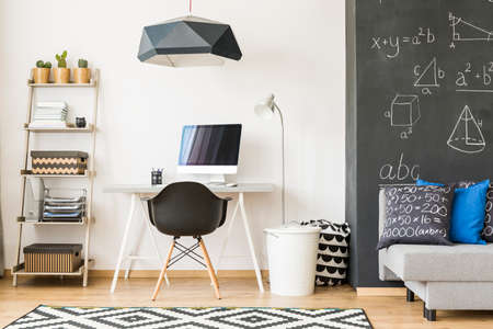 Prodigy: Light and modern room with workplace with computer for a diligent student Zdjęcie Seryjne