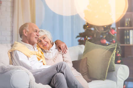 couple home: Happy senior couple sitting on a sofa and hugging at Christmas
