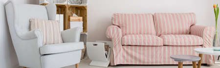 furniture home: Room with comfortable armchair, sofa and diy wooden regale Stock Photo