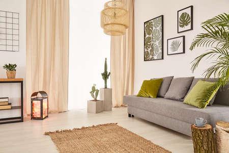 Lichte kamer met grijze bank, groene kussens, tapijt en raam Stockfoto