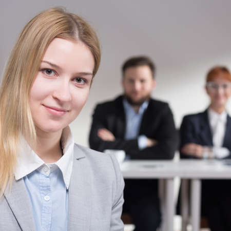 traineeship: Young elegant applicant after the jobinterview  in corporation