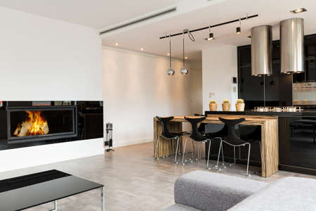 Minimalist elegant living room combined with a kitchen area