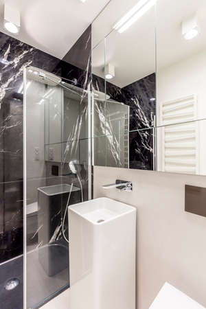 steely: Light bathroom with mirrow and fancy wall Stock Photo