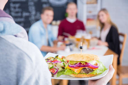 greasy: Person holding white plate with cheeseburger and salad