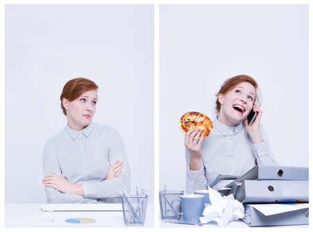 attitudes: Good worker and bed worker eating pizza and talking on phone Stock Photo