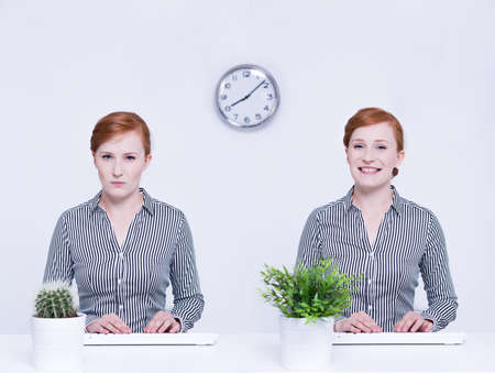 happy worker: Angry worker with cactus and happy businesswoman with pot plant
