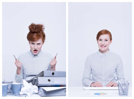 stressed business woman: Angry and relaxed office worker sitting beside desk Stock Photo