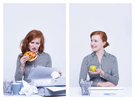 Tired worker eating pizza and happy woman holding apple Imagens