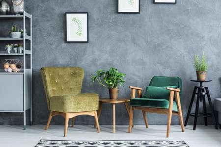 Vlak met modern en stijlvol meubilair