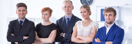 young entrepreneurs: Panoramic portrait of successful team of young entrepreneurs