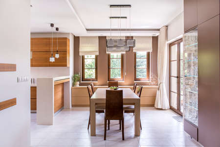 curtain: Kitchen and dining room in modern house