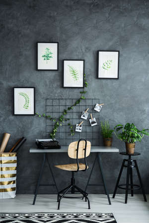Multifunctional room with desk and plants decorations Stock Photo