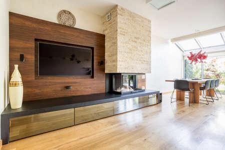 Moderna sala de estar con chimenea y TV