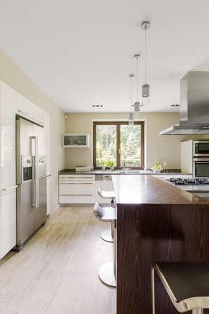 Modern Spacious Kitchen Interior With Bright Travertine Floor ...