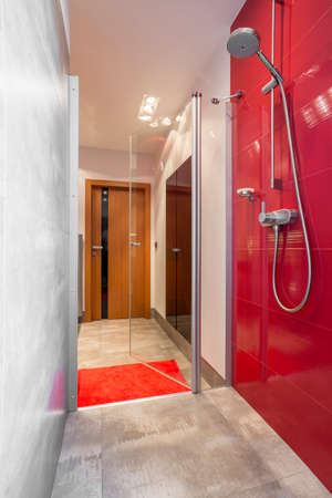 bathroom wall: Narrow bathroom designed with shower with red wall Stock Photo
