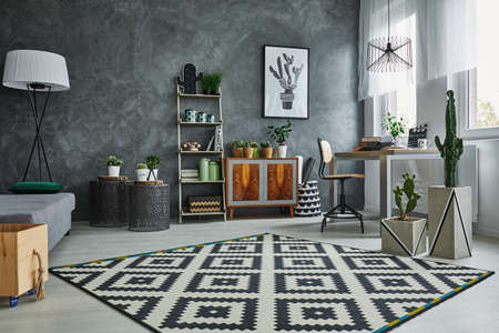 Grey flat with black and white pattern carpet Фото со стока