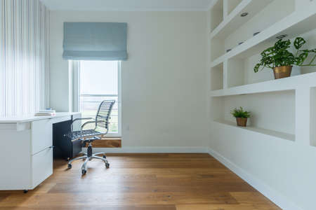 indoor plants: Bright and spacious home office area Stock Photo