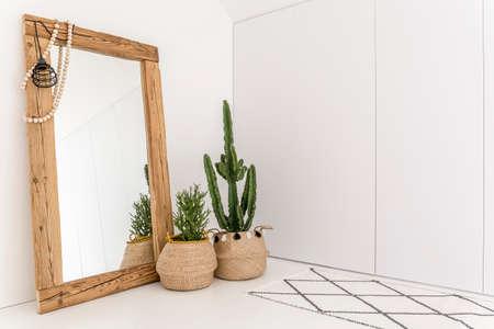 Stanza bianca con specchio con cornice in legno e cactus decorativo Archivio Fotografico - 68553721
