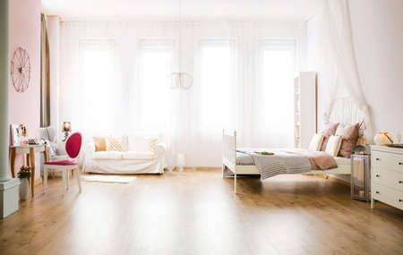 Light multifunctional room with sofa, bed, table and dresser Фото со стока