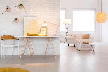 Bright living room interior with stylish lighting