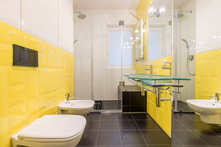 bathroom tiles: Modernly designed bathroom interior with yellow tiles