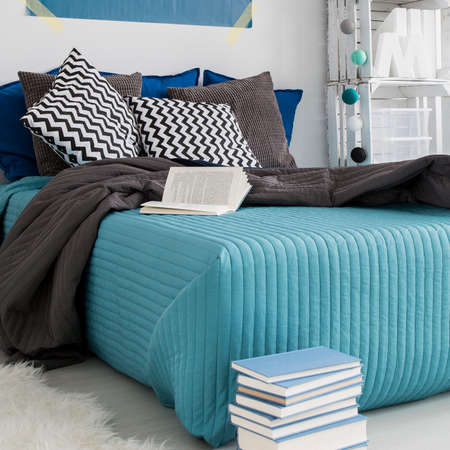 bedroom bed: Modern bedroom interior with a large bed, books and accent pillows