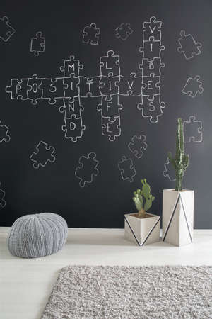 wall decor: Room with creative crossword puzzle chalkboard wall decor