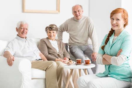 nursing care are for seniors: Comfortable nursing home with smiled seniors
