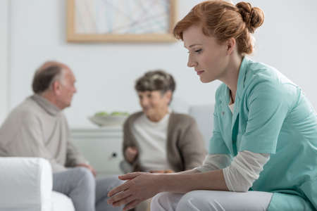 common room: Put out young nurse at retirement home