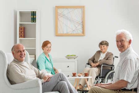 nursing care are for seniors: Recreation room at nursing home with seniors