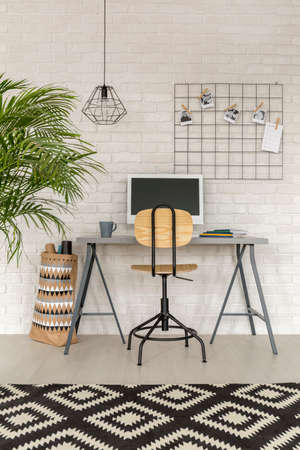 Home office in industrial style with simple desk and rug