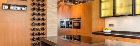 led lighting: Wooden kitchen with led lighting cabinet and wall wine rack