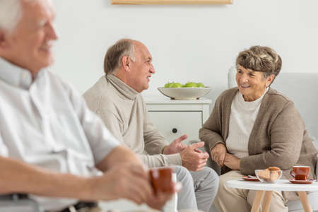 common room: Seniors enjoying common conversation at recreation room