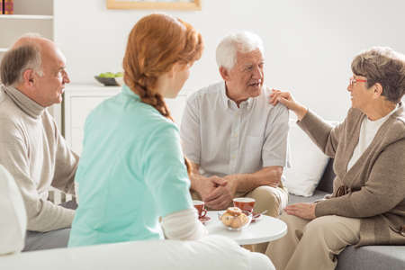 nursing care are for seniors: Elder people talking in front of their nurse