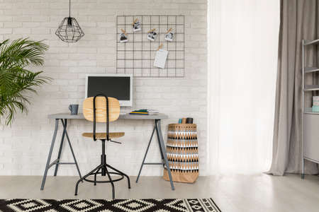 White study room with industrial style decorative details