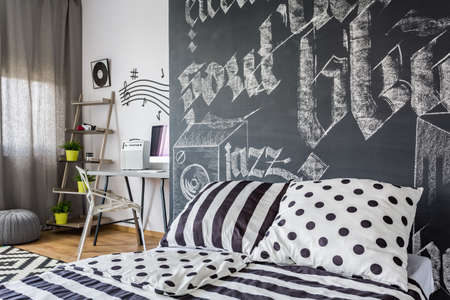 white chalk: Black and white bedroom with chalk graphite on the wall
