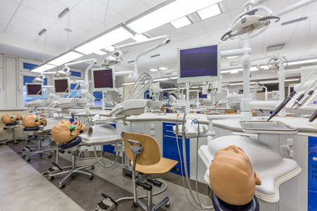 Shot of a high-tech workstations in a dental classroom at medical university Фото со стока