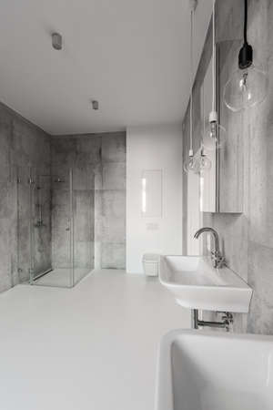 Modern Bathroom With Shower With Glass Door Stock Photo Picture And