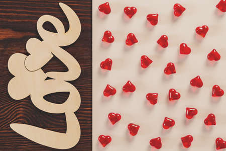 name day: Valentine heart decoration on wooden table