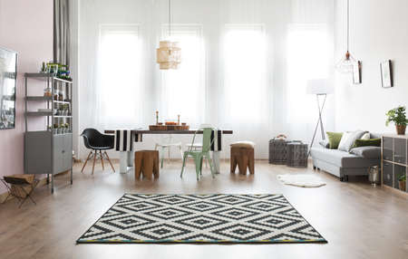 dining area: Apartment with bright dining area with table Stock Photo