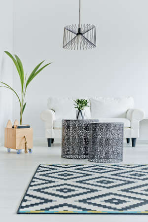 white interior: Nordic designed flat with white couch Stock Photo