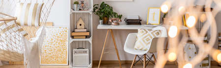 home accessories: Creative scandi style home office with white chair and desk