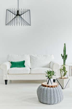 白い家具とミニマルなリビング ルーム 写真素材
