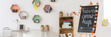 shelfs: Simple and colorful room for children with desk, armchairs, eco-friendly shelfs and blackboard