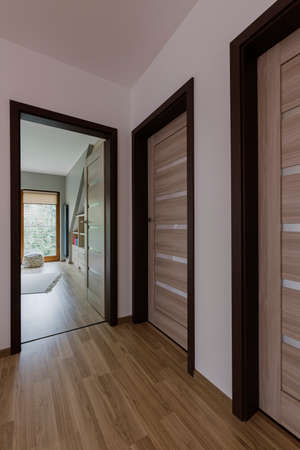 unfurnished: Unfurnished domestic house hallway interior with wooden floor and indoor doors