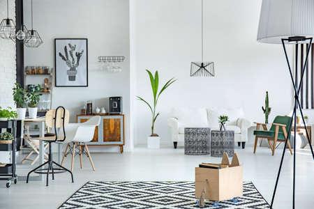 白と広々 としたリビング ルームの家具とインテリア