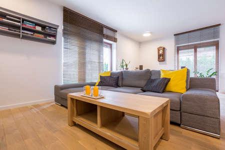 Room with sofa, wood coffee table and window