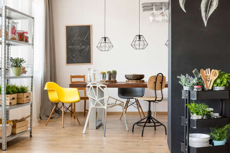 communal: Bright interior with communal table and chairs