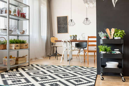 communal: Spacious and modern dining room with communal table